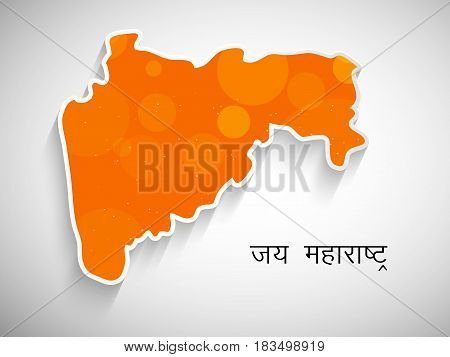 illustration of map of maharashtra state, India with hindi text jai maharashtra