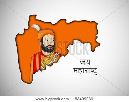 illustration of map and king of maharashtra state, India with hindi text jai maharashtra