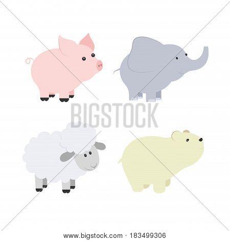 Vector cartoon illustration of baby animals including pig, elephant, bear, sheep