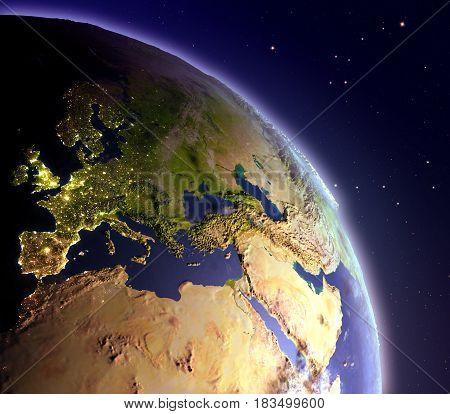 Emea Region From Space At Dawn
