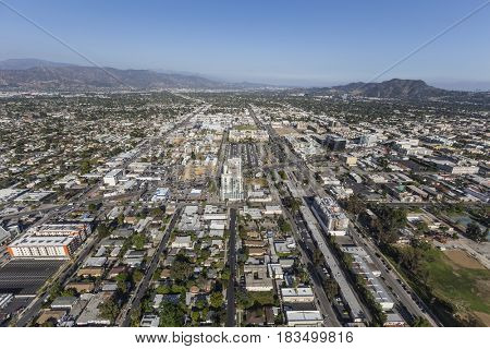 Los Angeles, California, USA - April 12, 2017:  Aerial view of North Hollywood in the San Fernando Valley.