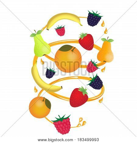 Garden and exotic fruit in a juice stream with spray. Ripe berries. Raspberries, blackberries and strawberries. Bananas, pears and oranges.