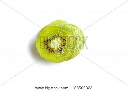 Healthy Food. Tropical Fruit. Sliced Kiwi. Kiwi. Still Life. Juicy Kiwi On White Background