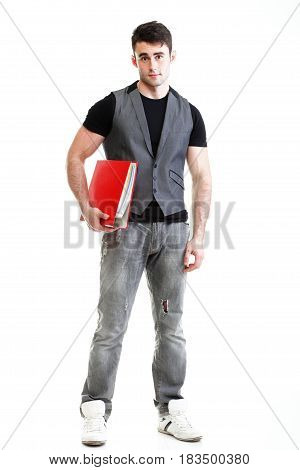 Portrait of young successful happy male student. Isolated on white background.
