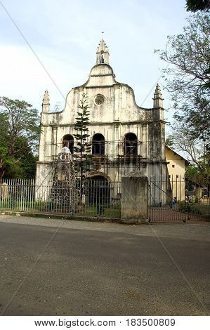 Frontal view of historic St. Francis Church at Kochi in Kerala India Asia