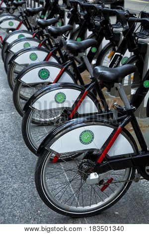 TORONTO, CANADA, APRIL 10, 2017:  Toronto bike share rental system, more than 200 stations around the city in Toronto, Ontario.