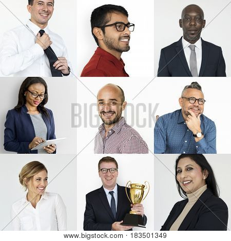 Collection of business people success and achievement
