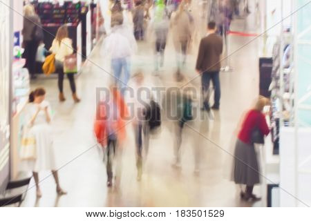 Abstract blurred image of shopping, people, exhibition - trade fair show. For background , backdrop