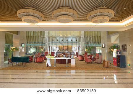 SHENZHEN, CHINA - MARCH 01, 2016: inside Crowne Plaza in Longgang District. Crowne Plaza is a chain of full service, upscale hotels.