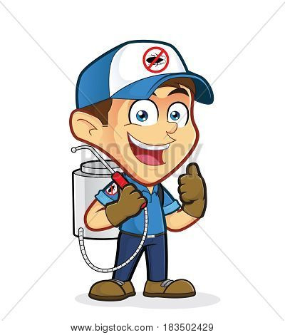 Clipart picture of an exterminator or pest control cartoon character giving thumbs up