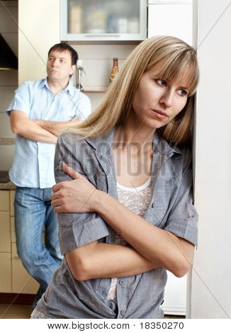 Conflict between man and woman at home