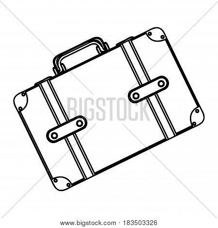 monochrome silhouette with suitcase in diagonal position vector illustration