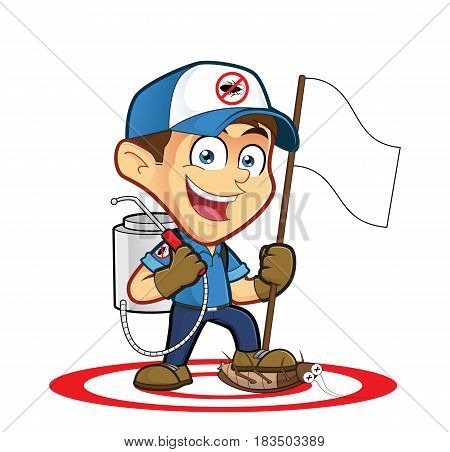 Clipart picture of an exterminator or pest control cartoon character holding flag