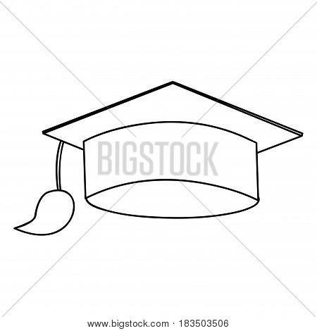 monochrome silhouette of graduation cap vector illustration
