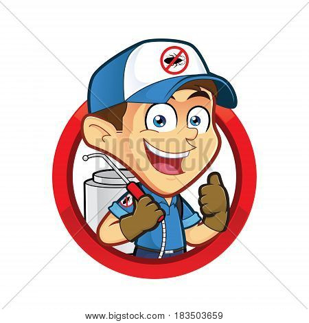 Clipart picture of an exterminator or pest control cartoon character in round frame