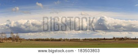 Field against the sky with clouds in the spring.
