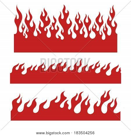 Red fire bars, old school flame elements for the endless border, isolated vector illustration