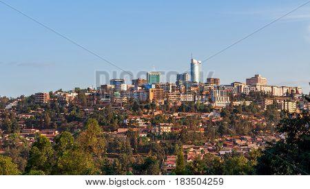 City bussiness district landscape of Kigali Rwanda 2016
