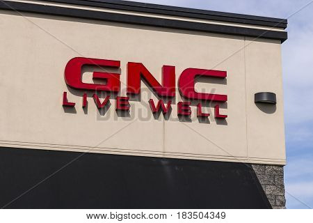 Marion - Circa April 2017: GNC health and nutrition retail strip mall location. GNC is partially owned by the Ontario Teachers Pension Plan I