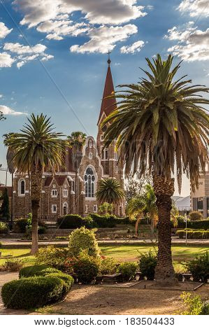 Luteran Christ Church And Park With Palms In Front, Windhoek, Namibia