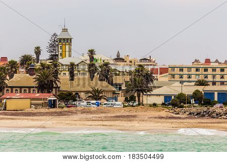 Waves and the coastline of Swakopmund German colonial town Namibia