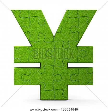 Green puzzle Yen sign isolated on white background three-dimensional rendering 3D illustration