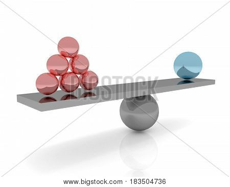 Scales With Red Balls Symbol Of Balance And Business Success Concept 3D Rendered Illustration