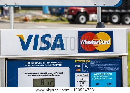 Marion - Circa April 2017: VISA and MasterCard Logo. VISA and MasterCard offer many payment products worldwide I