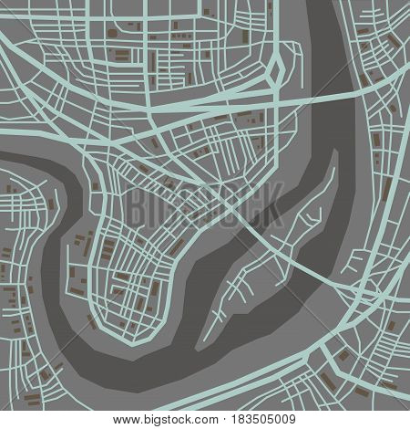 Abstract vector city map, flat style graphic plan
