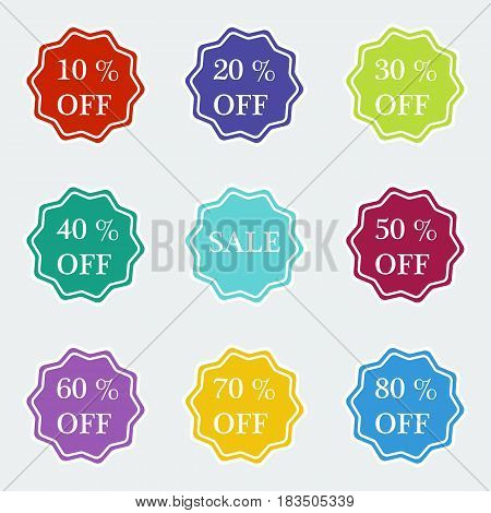 Sale symbol special offer label. Stars stickers. Vector design