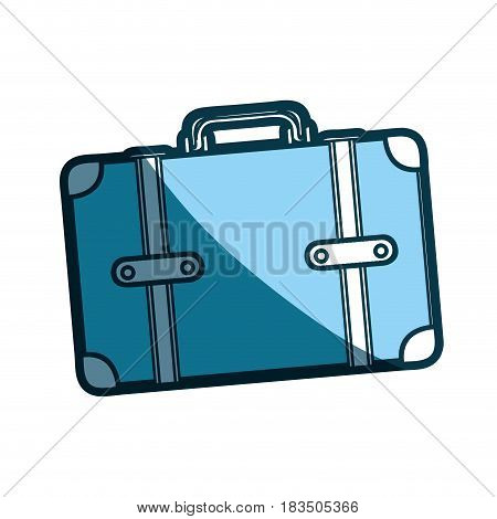 blue silhouette of suitcase with handle vector illustration