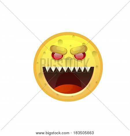 Yellow Smiling Face Angry Negative People Emotion Icon Flat Vector Illustration
