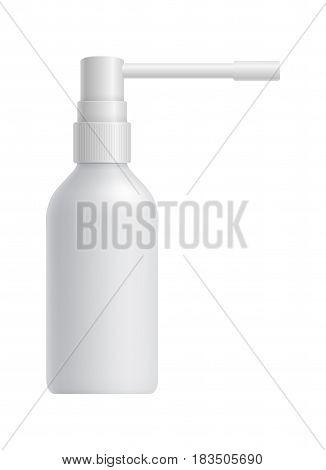 Realistic white medical spray bottle isolated on white background vector illustration. Packaging design element for branding.