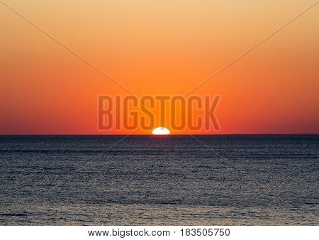 Scenary seascape with colorful sunset natural background