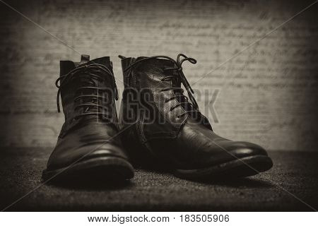 fashionable leather shoes on an abstract background
