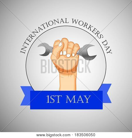 Illustration of hand with spanner for International Worker's Day