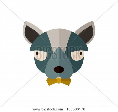 Toy terrier head icon isolated on white background vector illustration. Animal pictogram, pet emblem in flat design