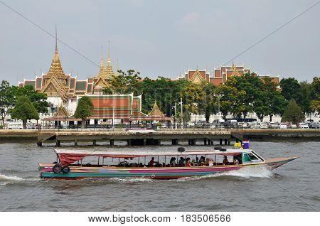 BANGKOK THAILAND - JAN 21 2017: Ferry boat at Chao Phraya River Chao Phraya River is a major river in Thailand
