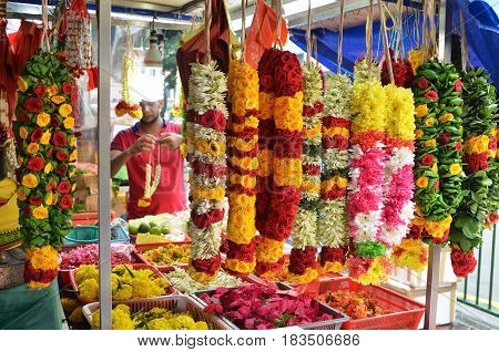 Flower Garlands In Little India, Singapore