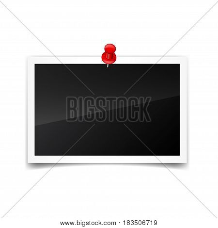 Photo card, frame, film set. Retro, vintage photograph with shadow and push pin.Digital snapshot, image.Photography art. Template or mockup for design.Vector illustration on a transparent background.