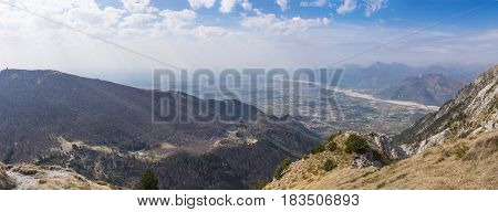 View from Monte Chiampon to Monte Cuarnan and plain of Friuli-Venezia Giulia in Italy in spring