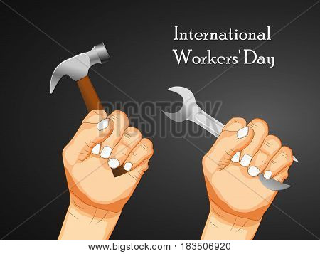 Illustration of hand with hammer and spanner for International Worker's Day