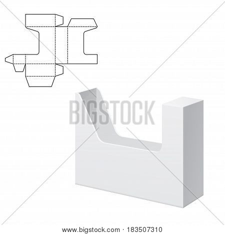 Vector Illustration of Diecut Craft Box for Design, Website, Background, Banner. Retail Folding package Template. Fold pack for document with dieline for your brand on it