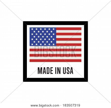 Made in USA label for products vector illustration isolated on white background. Square exporting stamp with united states flag, certificate element