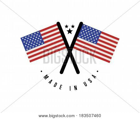 Made in USA certificate element for products vector illustration isolated on white background. Exporting sticker with crossing united states flags