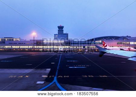 PRAGUE - FEBRUARY 10 2017: Night view on Vaclav Havel Airport in Prague. View from runway. Czech republic