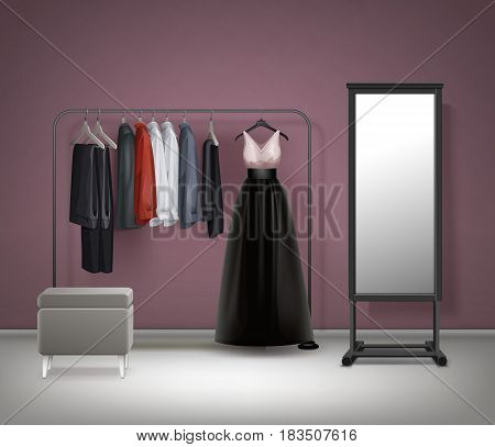 Vector cloakroom interior mirror, pouf, black metal clothes rack with dress, trousers, pants and shirts front view