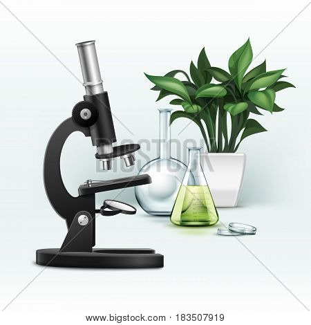 Vector black metal optical microscope, petri dish, flask with green liquid and plant isolated on background