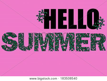Hello Summer vector illustration background. Fun quote hipster design logo or label. Hand lettering with flowers