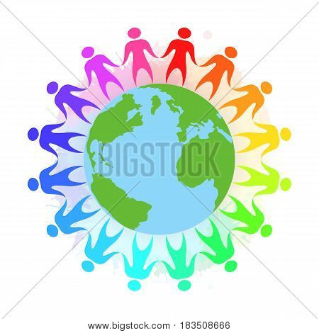 Illustration of rainbow people holding hands around the planet Earth with watercolor splashes. Unity and toleration.